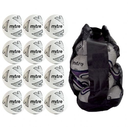 Mitre Impel Training Ball 12 Balls and Bag - White/Silver/Black